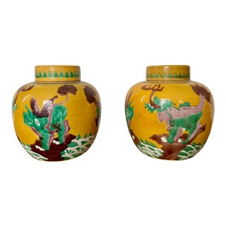 Pair of Chinese Dragon Ginger Jar Vases For Sale