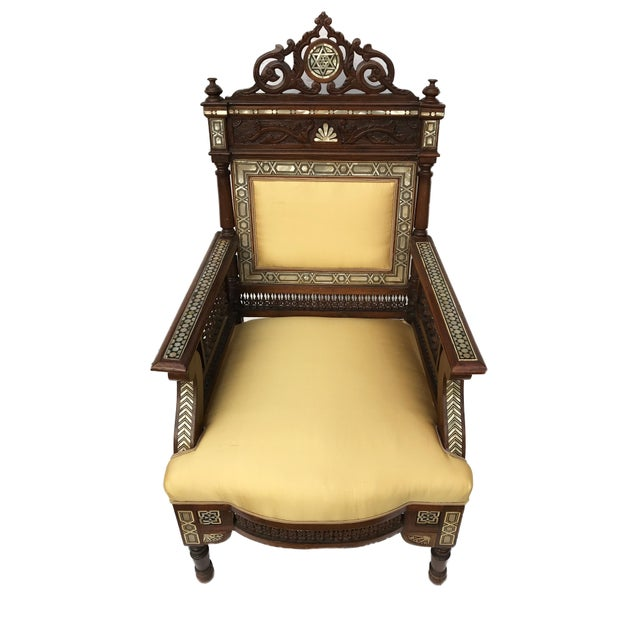 Mediterranean Museum Piece 19th C Middle Eastern Armchair W/Mother Pearl For Sale - Image 3 of 10