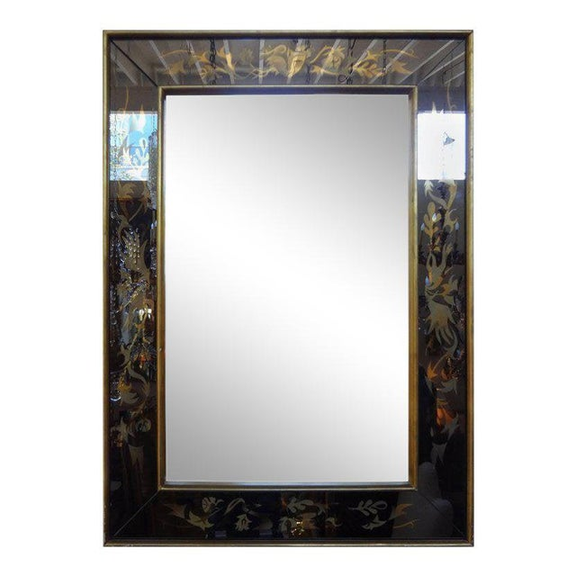 Bronze 1940's French Maison Jansen Style Eglomise Mirror For Sale - Image 8 of 9