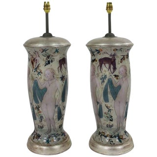 Pair of Declamania Lamps Inspired by Cranach For Sale
