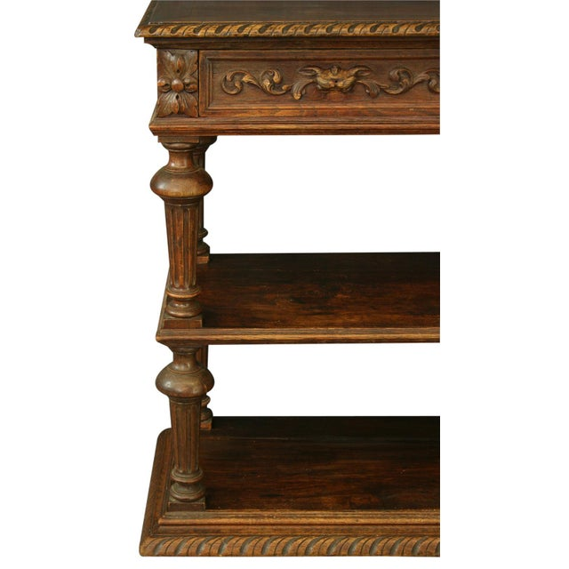 Antique French Oak Server, Fluted Column Legs - Image 3 of 8