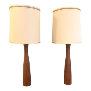Tall Mid-Century Teak Table Lamps - a Pair For Sale