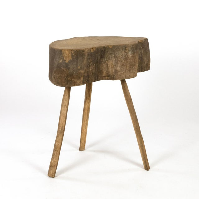 Industrial Rustic Three-Legged, Slab-Top Butcher Block, Norway, Circa 1880. For Sale - Image 3 of 6