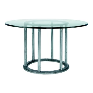 "Century Furniture Mesa Cornet 54"" Dining Table with Round Glass Top For Sale"