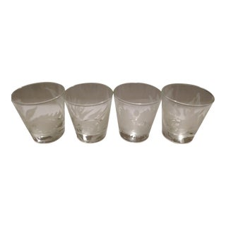 Vintage Mid-Century Anchor Hocking Tropical Frosted Design Lowball Drinking Glasses - Set of 4 For Sale
