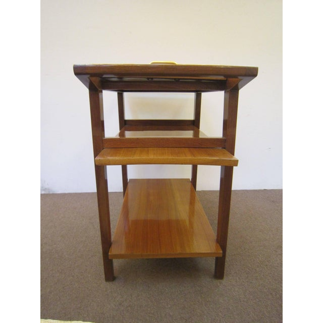 Brown French Mid-Century Modern Walnut Bar Cart Trolley/ Server/ Biblio, Andre Sornay For Sale - Image 8 of 11