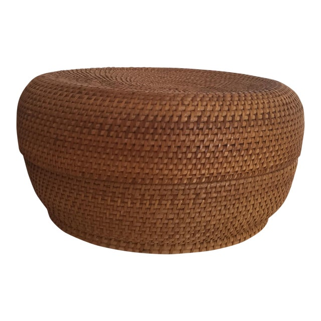 Woven Basket & Lid For Sale