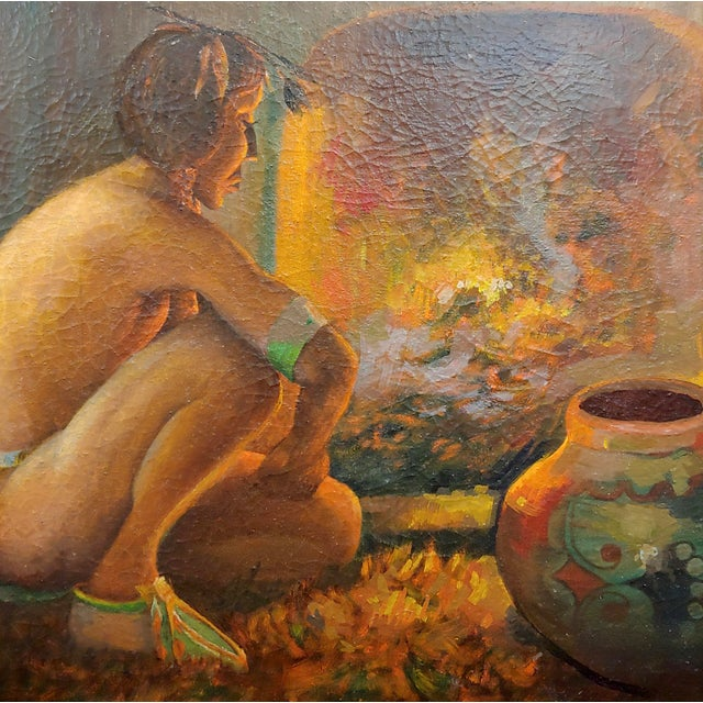 "Taos Pueblo ""Indian by the Fireplace"" Native American Oil Painting For Sale - Image 4 of 9"