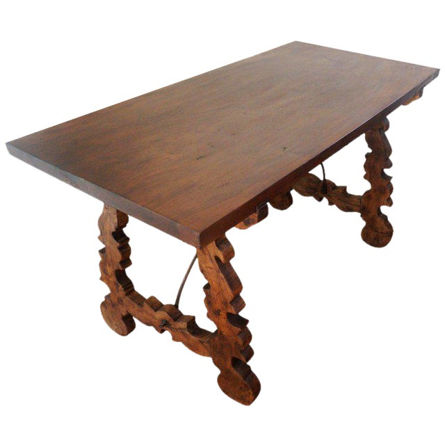 18th Century Refectory Spanish Table with Lyre Legs For Sale
