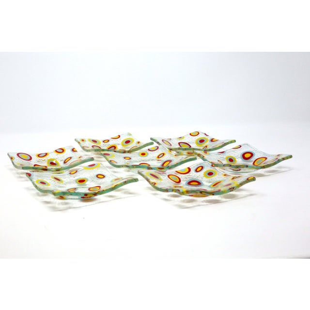Mid-Century Modern Square Glass Abstract Pattern Dishes - Set of 7 For Sale - Image 3 of 9