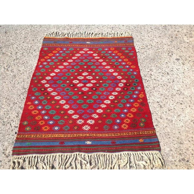 Vintage 1970s Turkish Kilim Rug - 2′11″ × 3′11″ For Sale In Raleigh - Image 6 of 6