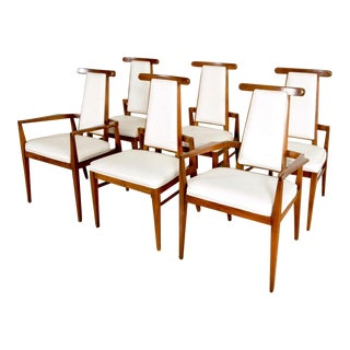 Mid Century Foster McDavid Walnut and White Leather Dining Chairs - Set of 6