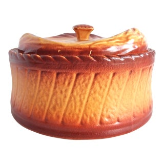Antique French Trompe l'Oeil Puff Pastry Brown Faience Terrine For Sale