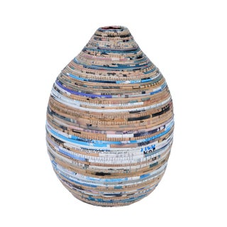 Folk Art Vase in Newspaper Wrapping For Sale