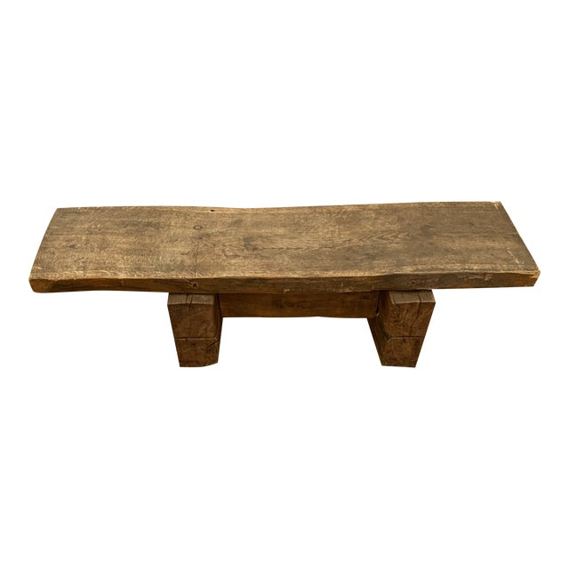 1960s Primitive Thick Wood Rectangular Coffee Table For Sale