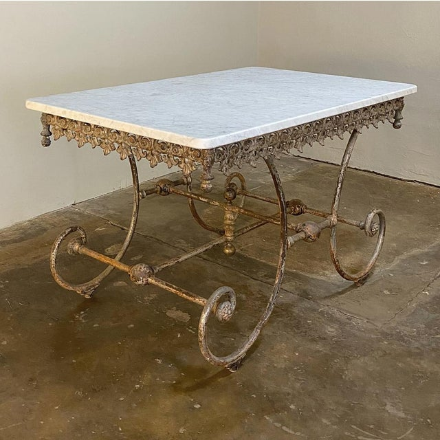 19th Century Iron Marble Top Confectioner's Table For Sale - Image 9 of 13