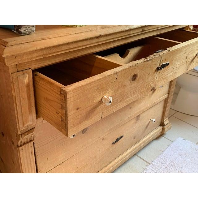 Brown Custom Pine 3-Drawer Bathroom Vanity With Talavera Sink For Sale - Image 8 of 13