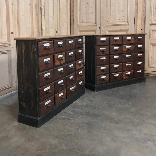 French Antique French Pharmacy Cabinets With Original Enamelled Labels - a Pair For Sale - Image 3 of 12
