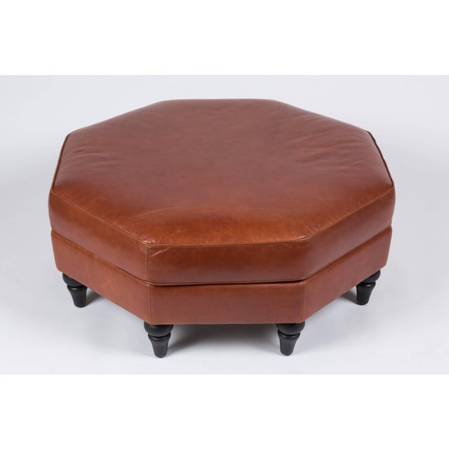 Custom Edelman Leather Hexagonal Ottoman For Sale In Los Angeles - Image 6 of 8