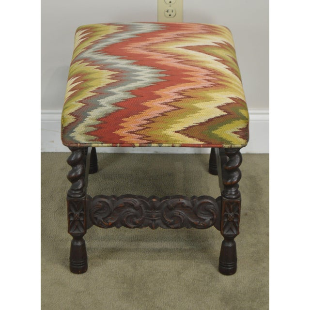 Antique Carved Oak Jacobean Style Small Bench or Stool For Sale In Philadelphia - Image 6 of 13