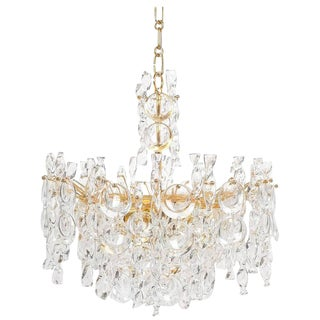 Refurbished Tendril Ribbon Glass and Gold Chandelier Lamp by Palwa, 1960 For Sale