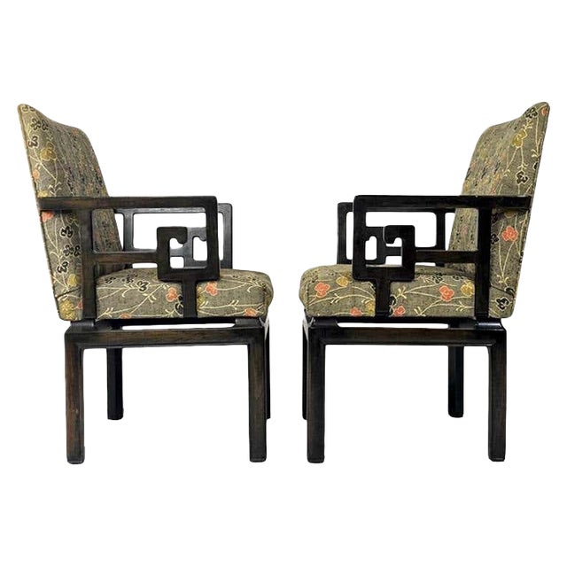 Pair of Greek Key Far East for Baker Chinoiserie Armchairs by Michael Taylor For Sale
