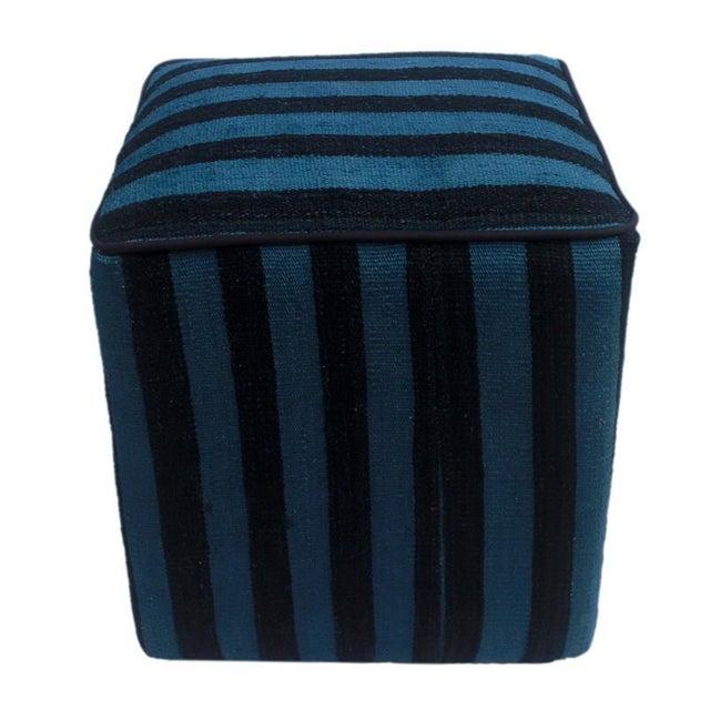 Shabby Chic Boho Chic Arshs Donnetta Black/Blue Kilim Upholstered Handmade Ottoman For Sale - Image 3 of 8