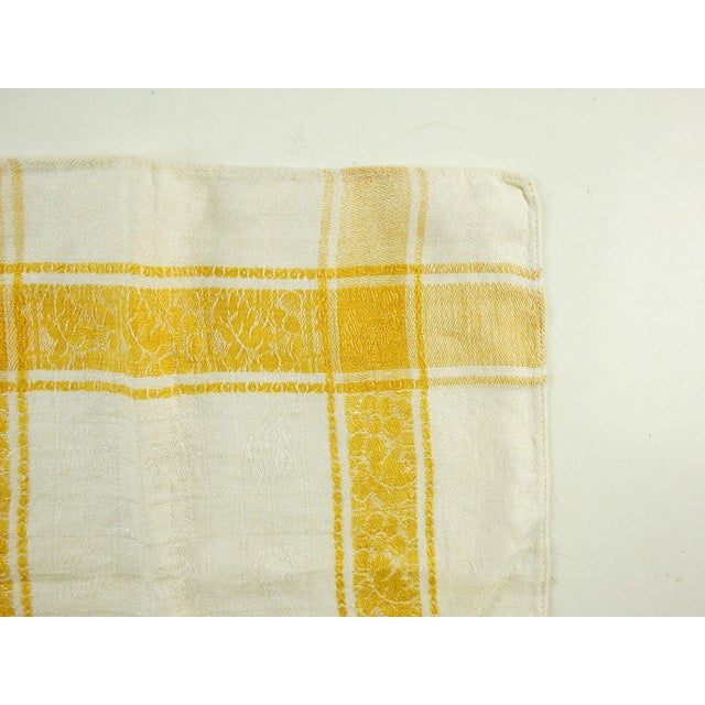 Rustic Cotton Damask Yellow Plaid Napkins - Set of 6 For Sale - Image 3 of 5