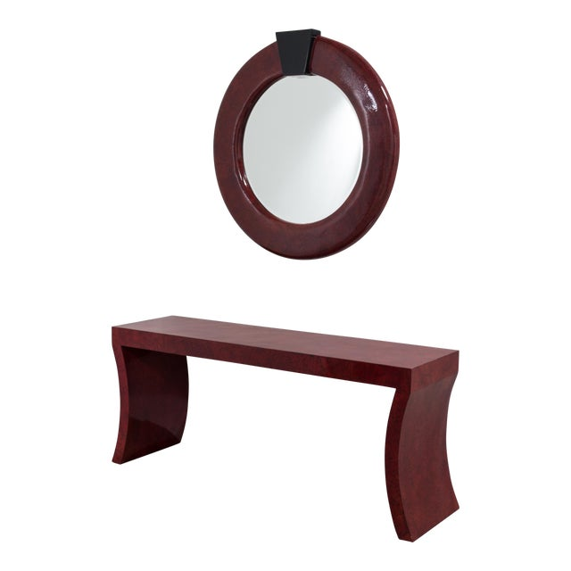 An Impressive Red Crackleware Finished Console and Mirror 1980s For Sale