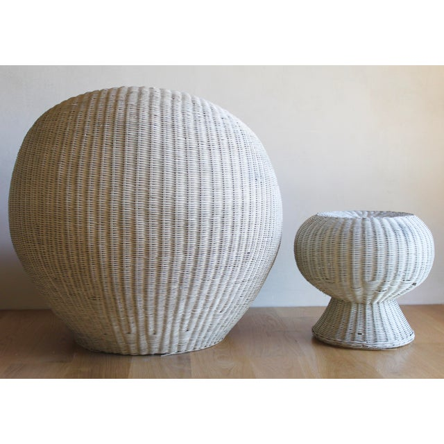 Gorgeous sculptural design by Isamu Kenmochi forYamakawa Japan. Wicker over bamboo frame. Rare round pod lounge chair and...