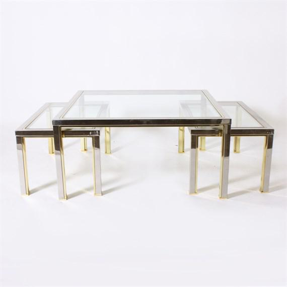 Set of three brass and nickel nesting coffee tables in the style of Romeo Rega, c. 1970.