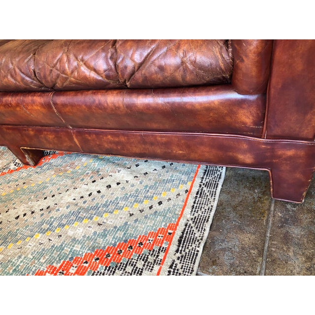 1980s Vintage Cognac Brown Leather Chesterfield Sofa For Sale - Image 5 of 9