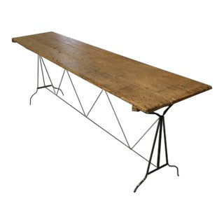20th Century Industrial Wood Top and Iron Base Console Table For Sale