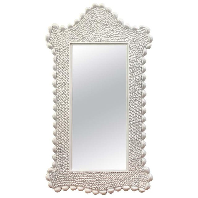 White Mid Century Serge Roche Style Shell Encrusted Mirror For Sale - Image 8 of 8