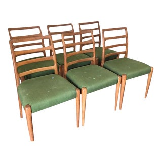 Vintage Mid Century DScan Teak Ladder Back Dining Chairs- Set of 6 For Sale