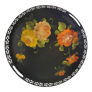 Vintage Hand Painted Floral Design Black Metal Toile Tray For Sale