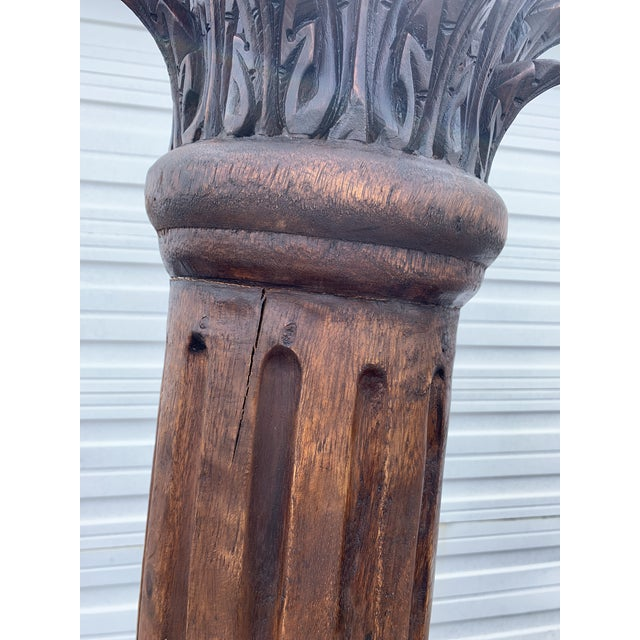 Antique Corinthian Style Carved Mahogany Columns - a Pair For Sale - Image 10 of 13
