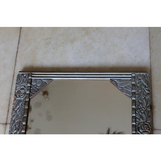 Wood Antique French Art Deco Carved Wood Distressed Silver Wall Mirror C1920's For Sale - Image 7 of 10