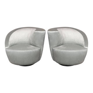"Pair of Swiveling ""Nautilus"" Chairs by Vladimir Kagan in Smoked Platinum For Sale"
