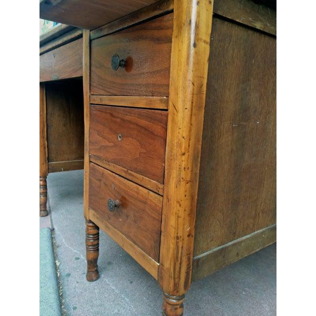 Arts & Crafts Slate-Top Wood Desk For Sale - Image 4 of 11