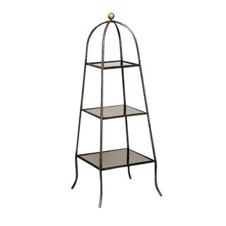 Italian Mid-Century Steel Tiered Stand with Black Glass Shelves and Domed Top