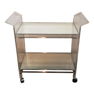 1970s Vintage Lucite Bar Cart With Mirror Shelves For Sale