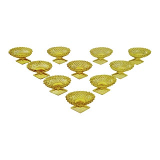 Vintage Amber Cut Glass Salt Cellars - Group of 10 For Sale