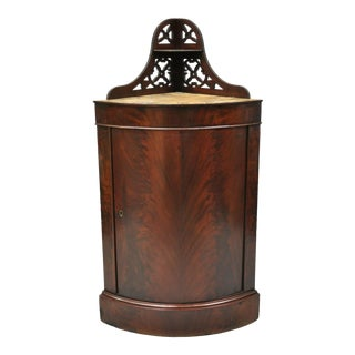 Antique Federal Crotch Mahogany Small Corner Cabinet Cupboard Pedestal Stand For Sale