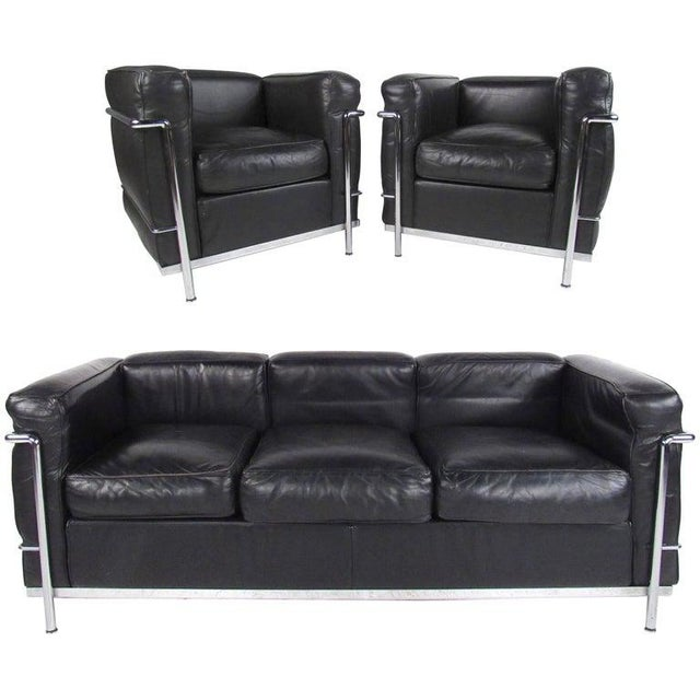Le Corbusier Lc Leather and Chrome Living Room Set for Cassina For Sale - Image 12 of 12