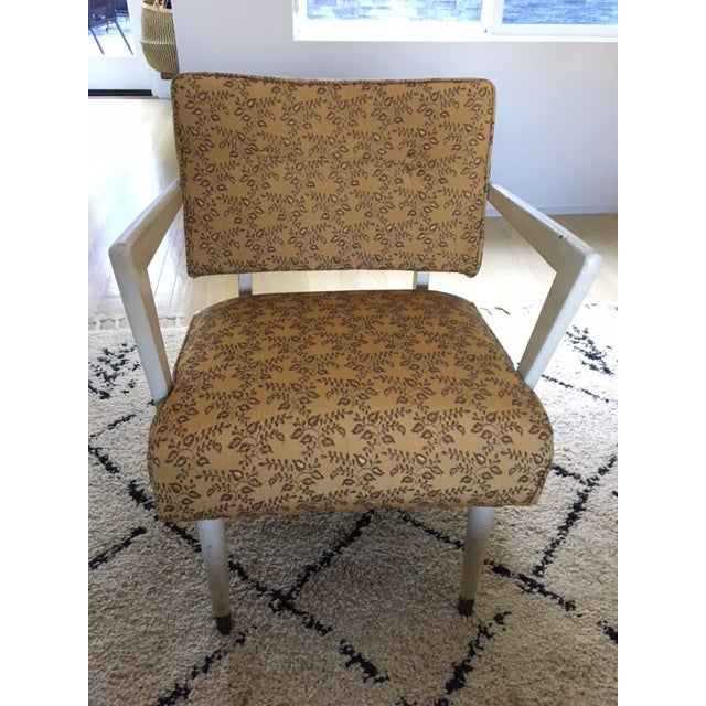 Embroidered Fabric is in immaculate condition, sturdy and comfortable chair.