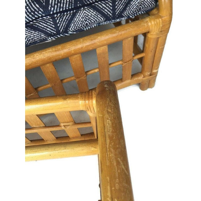 Blue 1970s Vintage Oversized Bamboo Ottomans Low Stools - a Pair For Sale - Image 8 of 13