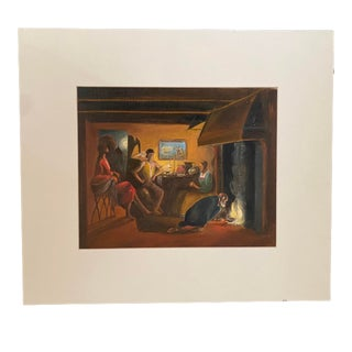Flemish Style Interior Scene Oil Painting For Sale