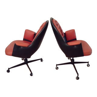 Pair MCM Club Chairs on Casters in Red and Black 70s For Sale