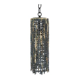 Tall Hanging Basketweave Pendant by Clate Grunden For Sale